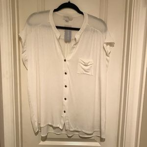 NWT Forever21 White Button Front Blouse Sheer Back